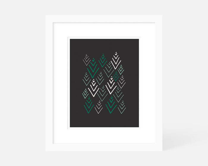 Scandinavian evergreen tree art print with white frame