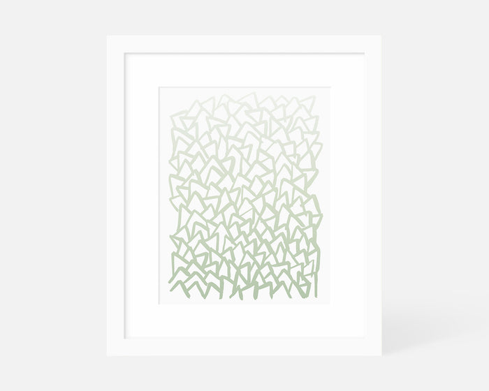 mint green abstract geometric art print with white frame