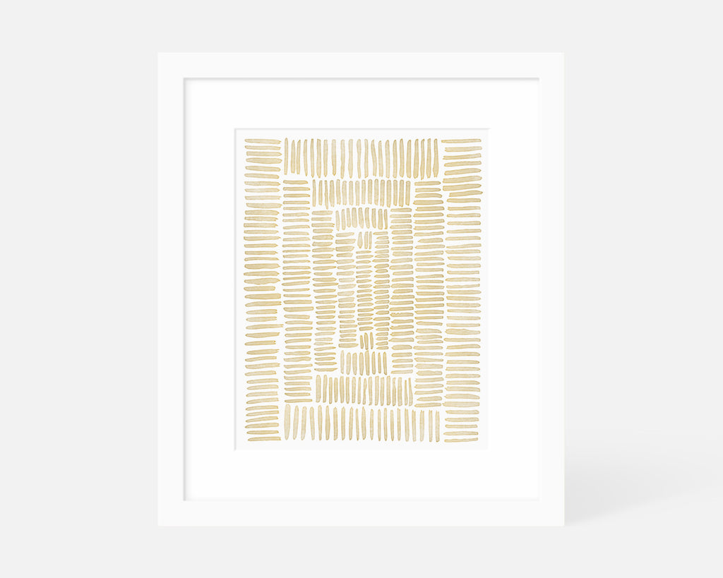 yellow minimalist art print with white frame