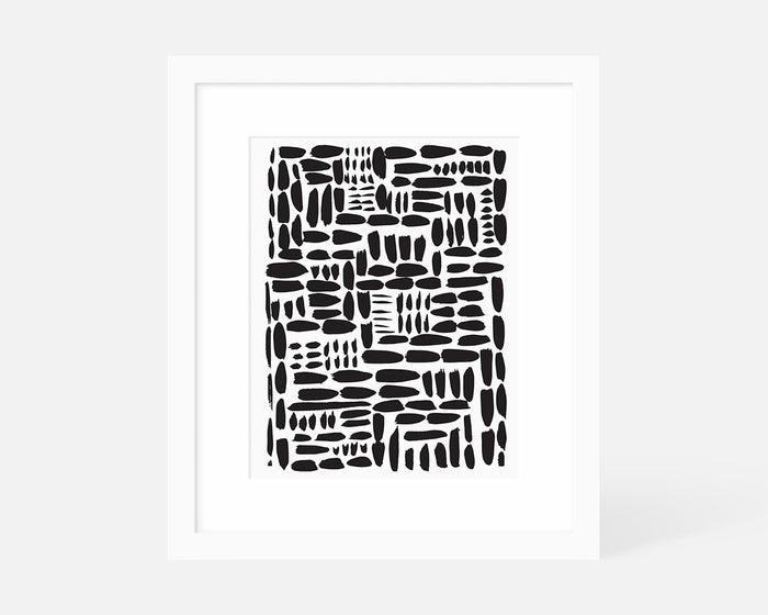 minimalist black brush stroke art print with white frame