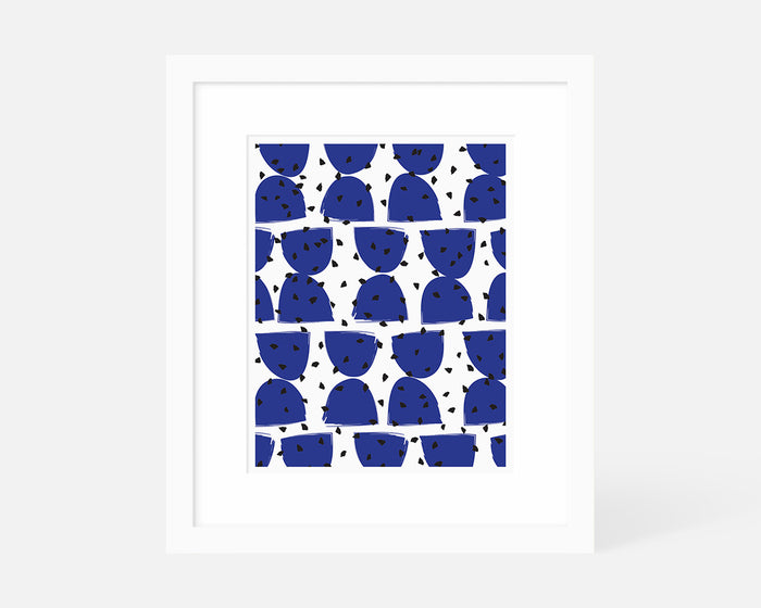 blue Mid Century Modern geometric art print with white frame