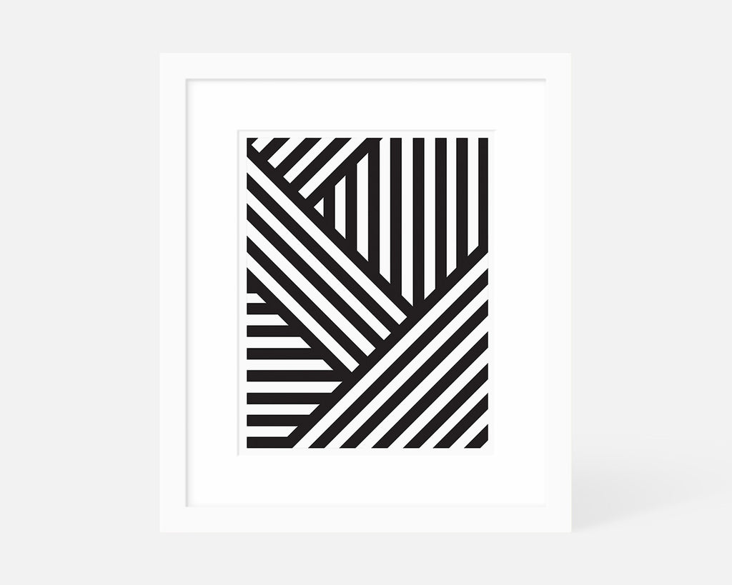 black and white Mid Century Modern art print with white frame