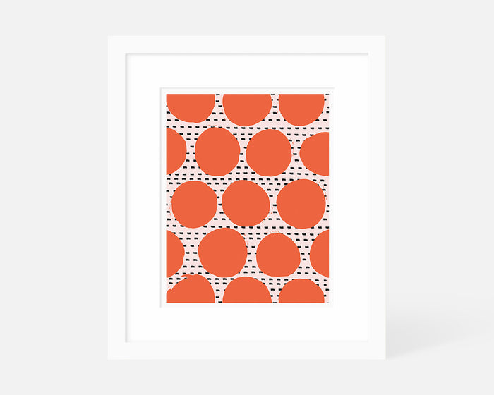 coral Mid Century Modern art print with white frame
