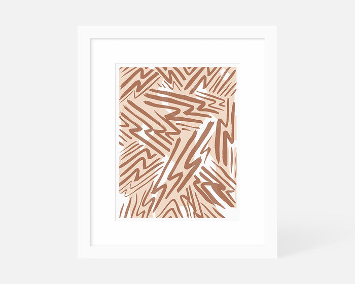 pink and coral abstract lightning art print with white frame