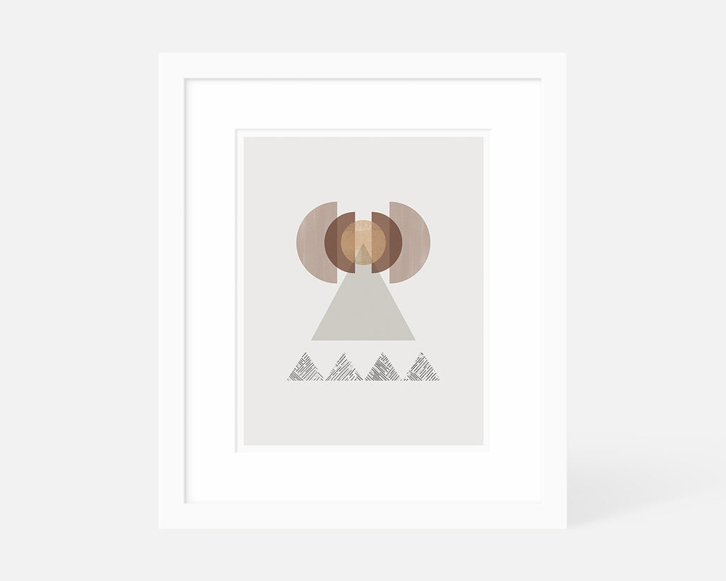 graphic art print of abstract geometric mountain with white frame