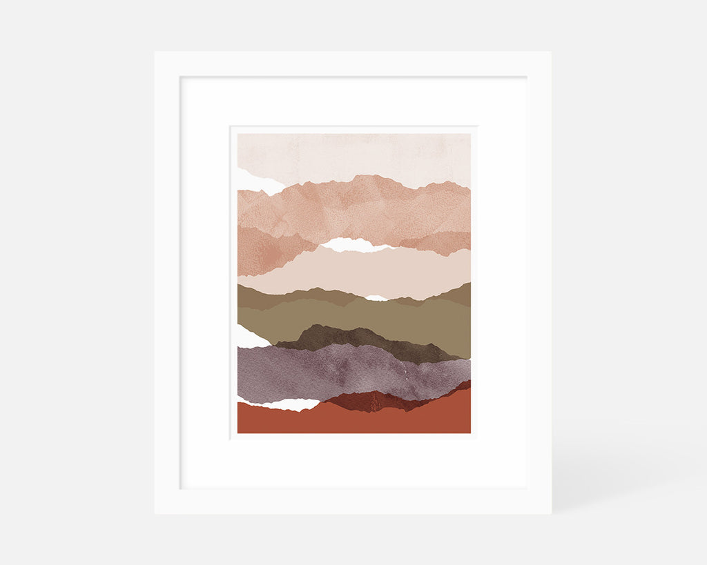 pink minimalist abstract art print with white frame