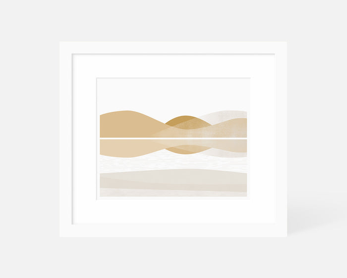 minimalist graphic art print of nicasio reservoir landscape with white frame