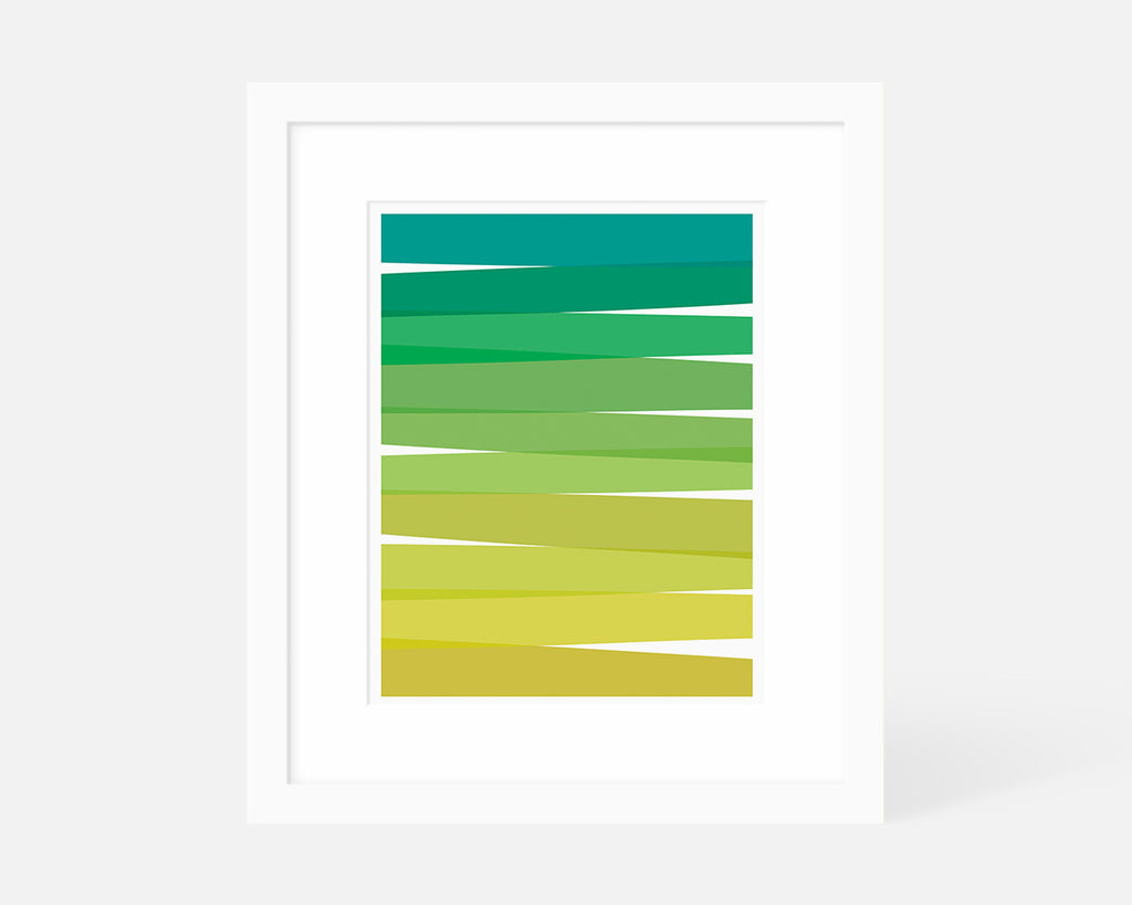 Minimalist blue green and yellow ombre art print with white frame