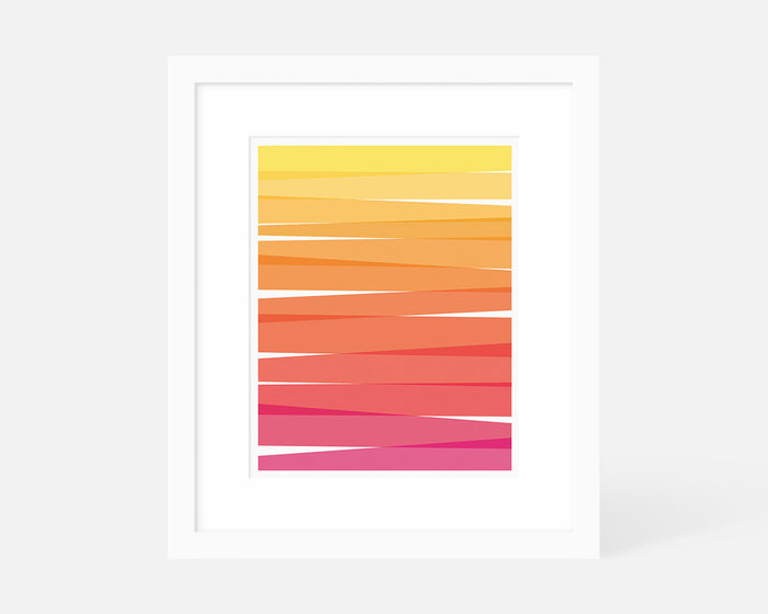 Minimalist red orange and yellow ombre art print with white frame