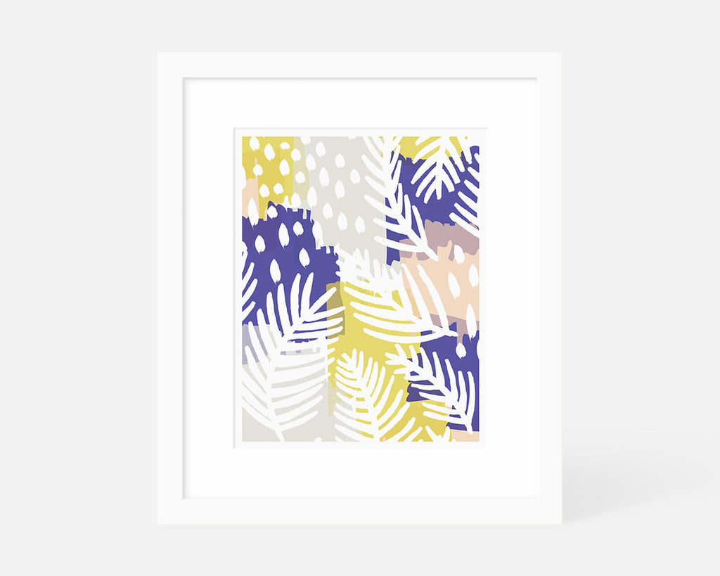 blue yellow and pink abstract palm leaf art print with white frame