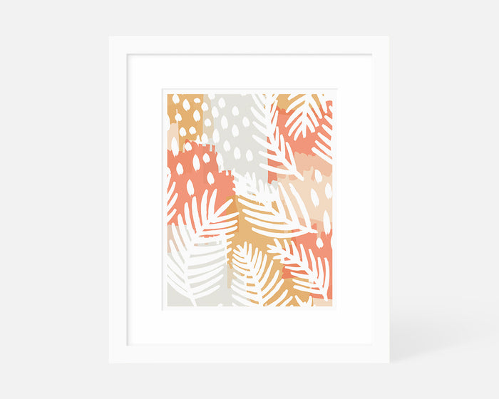 pink and orange abstract palm leaf art print with white frame