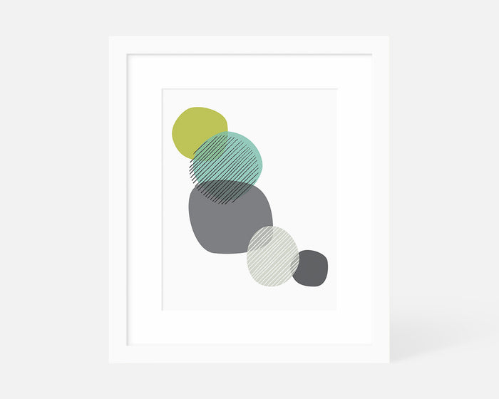 minimalist blue and green graphic art print with white frame