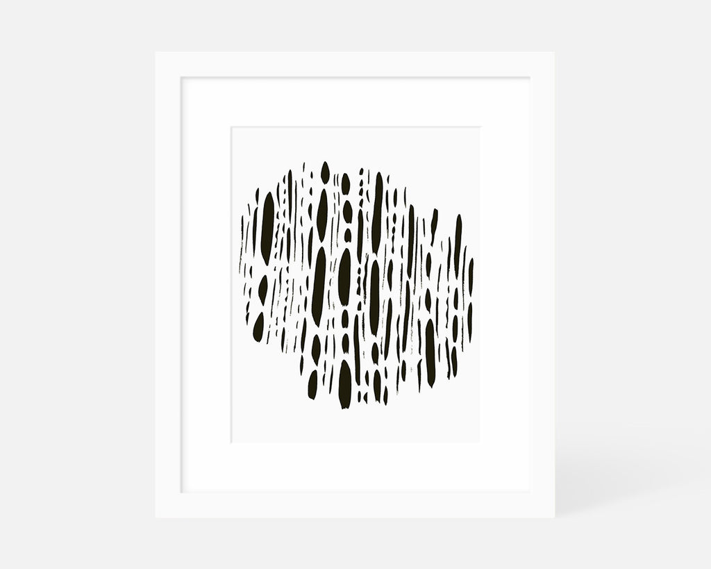 black and white minimalist art print with white frame