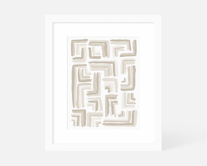 abstract neutral brush stroke art print with white frame