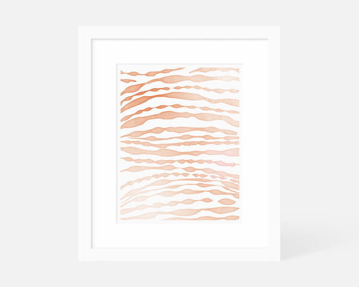 orange minimalist brushstroke art print with white frame