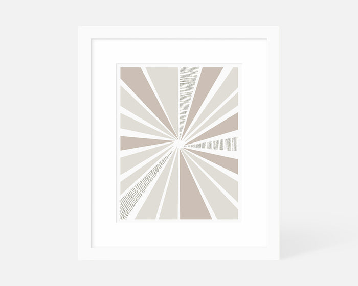 neutral mid century modern sunburst art print with white frame