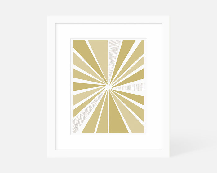 yellow mid century modern sunburst art print with white frame