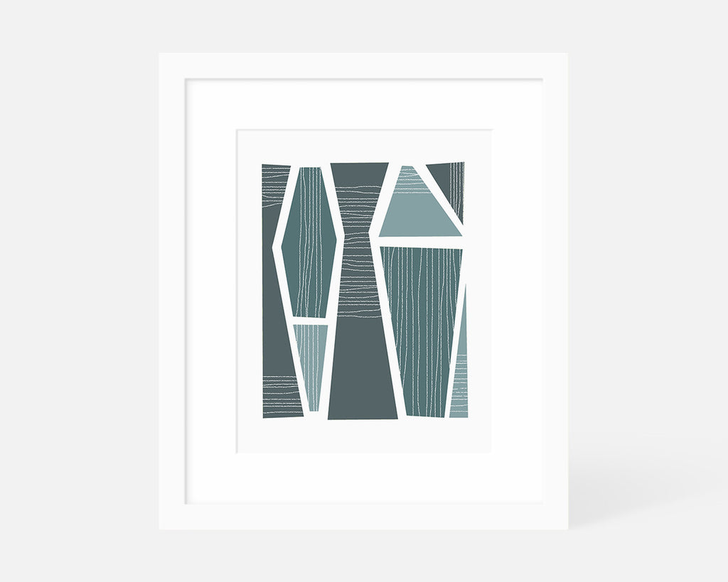 muted blue mid century modern art print with white frame