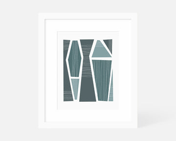 Tangram Art Print - Steel Blue