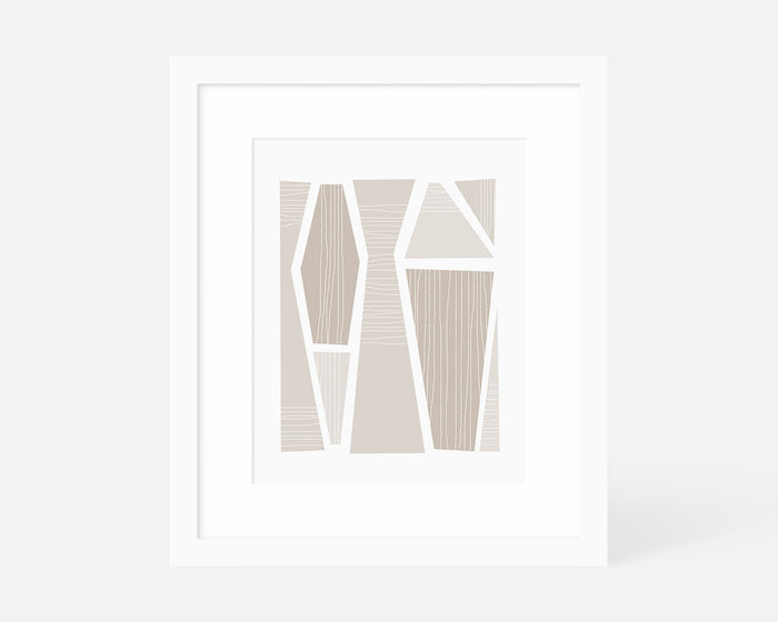 neutral blue mid century modern art print with white frame