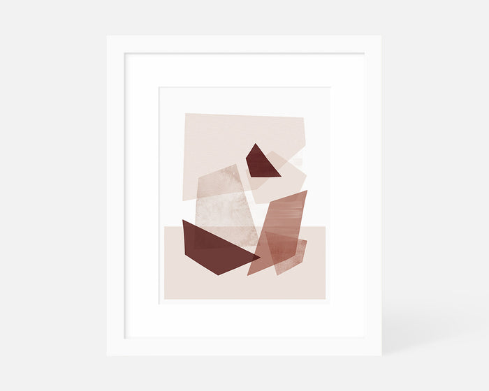 pink geometric art print with white frame