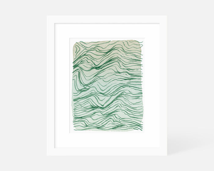 green abstract art print with white frame