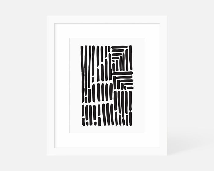 minimalist black and white art print with white frame