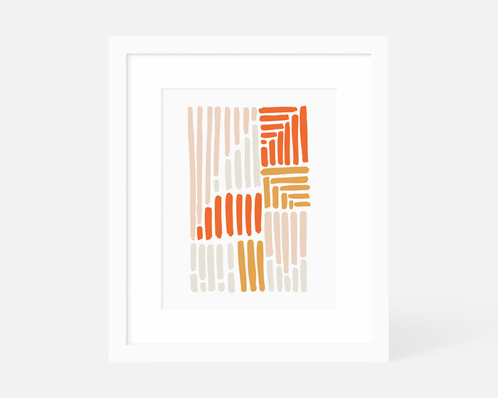 minimalist pink and orange art print with white frame