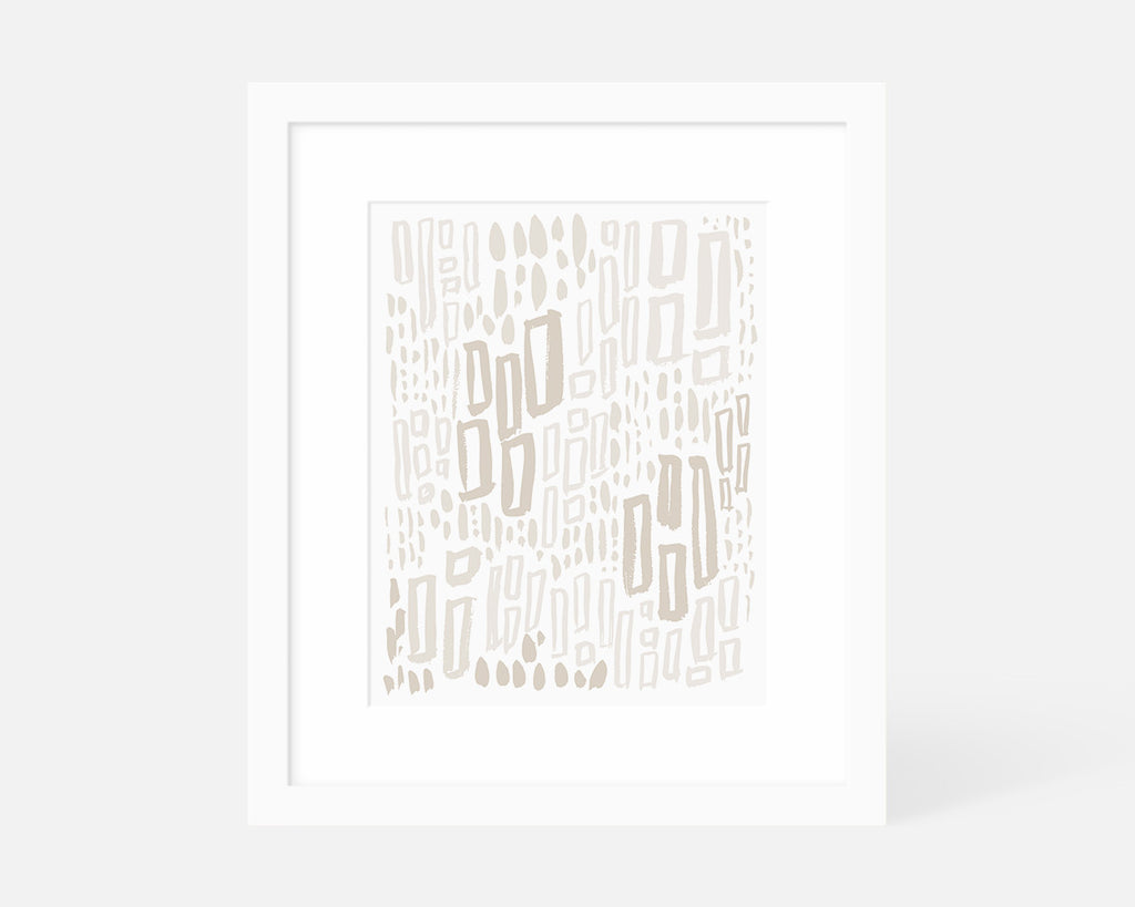 neutral abstract art print with white frame