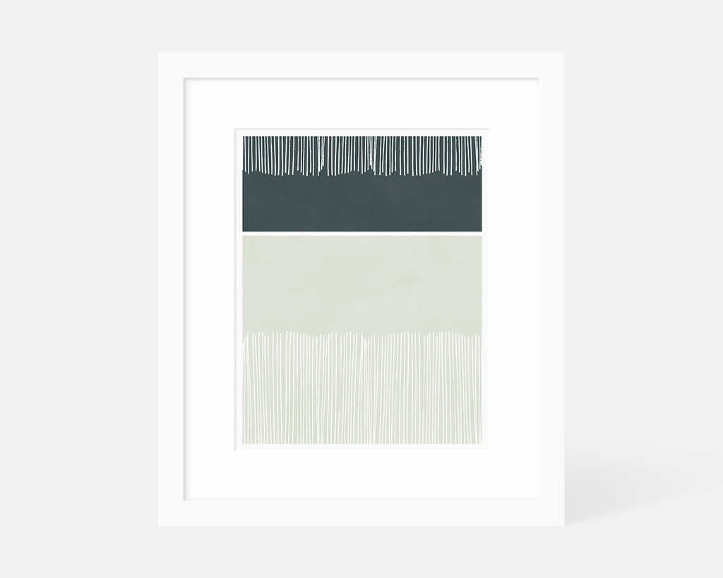 muted blue minimalist art print with white frame