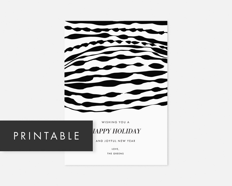 Ripple Holiday Card - Black [Printable]