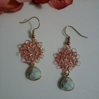 Flower Wire Crochet Dangle Earrings by Amatl