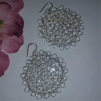 Silver Flower Wire Crochet Dangle Earrings by Amatl