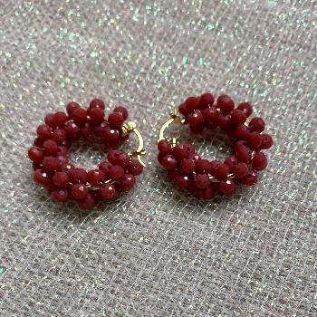 Mexican Beaded Crystal Hoop Earrings by A. Diaz