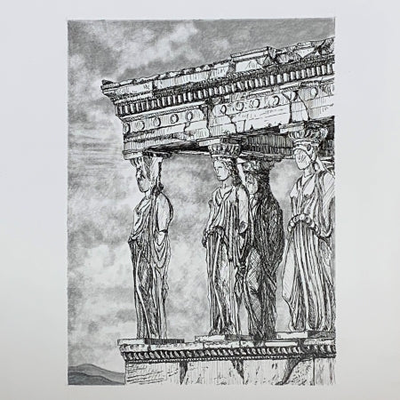 Caryatids of the Erechtheion of the Acropolis, Athens Greece. Original Ink Drawing by Roben B. Taglienti.