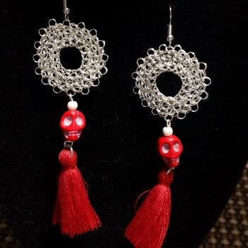 Day of the Dead Wire Crochet Earrings BY Amatl.