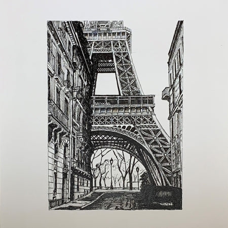 """From Paris, With Love""- Original Pen Ink Drawing art by Roben B. Taglienti- tag+art"