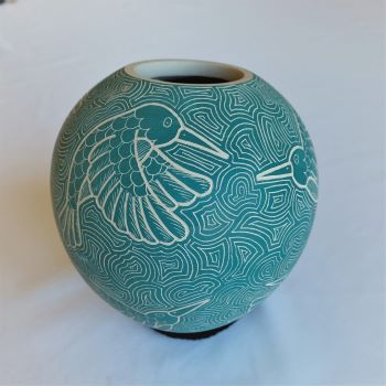 Mata Ortiz Pottery Hummingbird Design Mexican Fine Folk Art by Heri Mora
