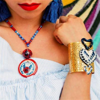 Talavera Eclipse Rojo Medallion Necklace by Romero2