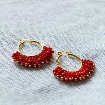 Mexican Chaquira Beaded Hoop Earrings