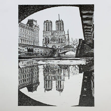 Notre Dame de Paris Cathedral, Paris from the Seine. Original Ink Drawing by Roben B. Taglienti.