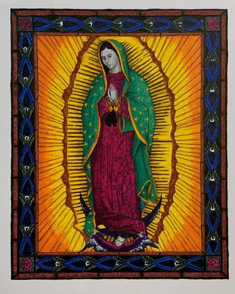 Our Lady of Guadalupe Original Ink Drawing by Roben B. Taglienti. La Virgen De Guadalupe.