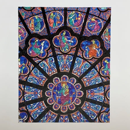 North Rose Window from Notre Dame de Paris Cathedral – Original Ink Drawing by Roben B. Taglienti.
