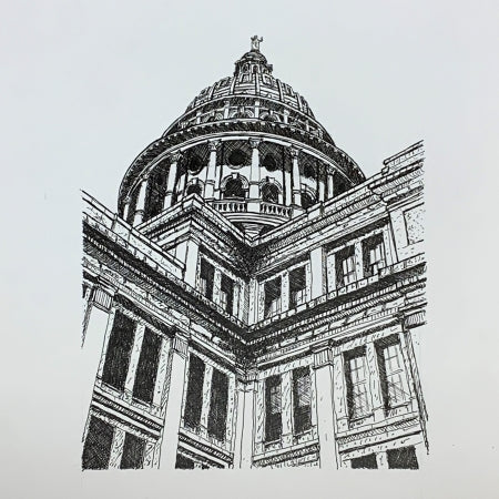 Texas State Capitol - From Southwest Drawing by Roben Taglienti - tag+art