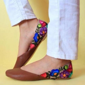 Lolkina Roberta Mexican Embroidered Flat Shoes