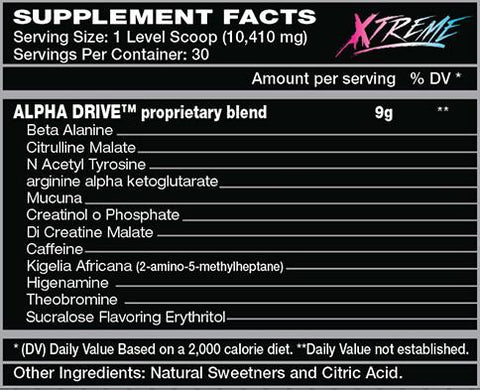 ALPHA DRIVE XTREME PRE-TRAINING PERFORMANCE POWDER