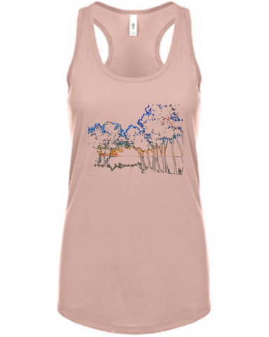 Colored Trees - Women's Racerback Tank in Blush