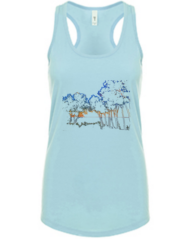 Colored Trees - Women's Racerback Tank in Lagoon