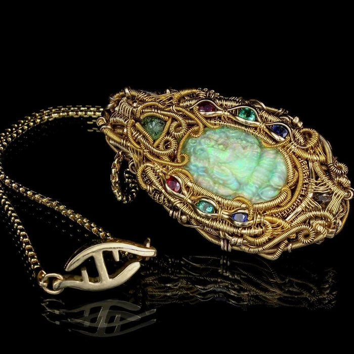 High End Gold Wire Wrap Talisman