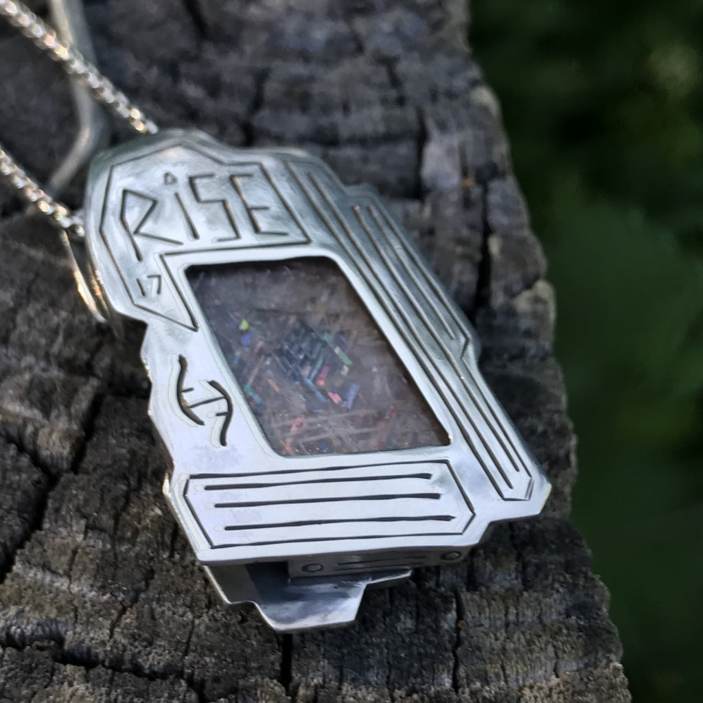 Rainbow Code- Lattice Sunstone Pendant